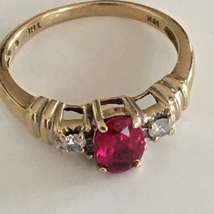 Jewelry - ♦️$59 FINAL♦️10K solid Gold ruby diamond ring 7